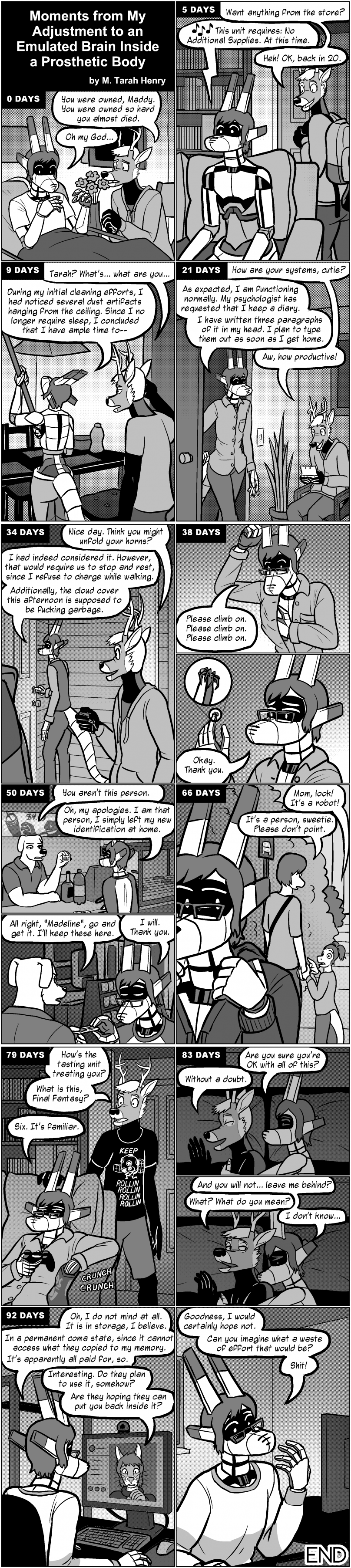 Comic: Moments From My Adjustment to an Emulated Brain Inside a Prosthetic Body